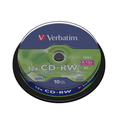 CD-RW 10x Spindel wiederbesch.700MB/80Min 10 Stück