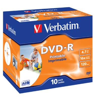 DVD-R 16x Jewelcase für Inkjetdrucker 4,7GB 10 Stück