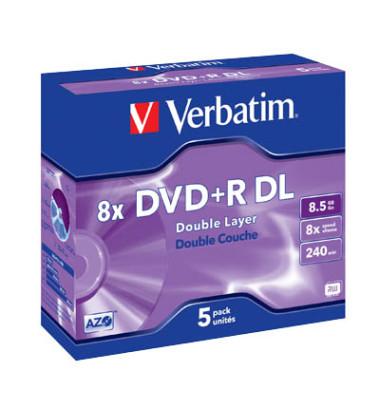 DVD+R 8x Jewelcase 8,5GB 5 Stück