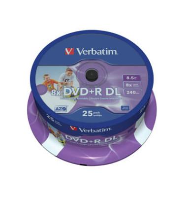DVD+R 8x Spindel DL für Inkjetdrfucker 8,5GB 25 Stück