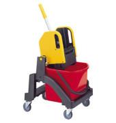 Nasswischwagen Aquva mit 17-Liter-Eimer und Presse rot/gelb