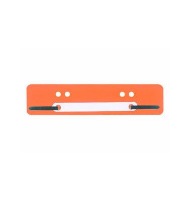 Heftstreifen kurz 201250, 34x150mm, Kunststoff mit Kunststoffdeckleiste, orange, 25 Stück