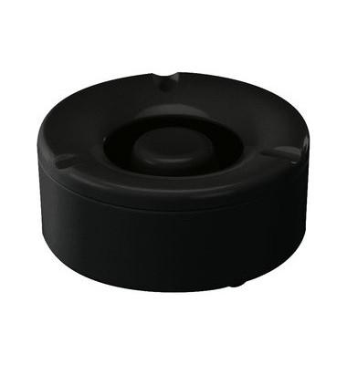 Aschenbecher mit Löschkopf schwarz 13x6cm (ØxH) Kunststoff