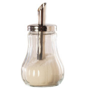 Zuckerstreuer m.Edelstahlkappe 11cm hoch Glas