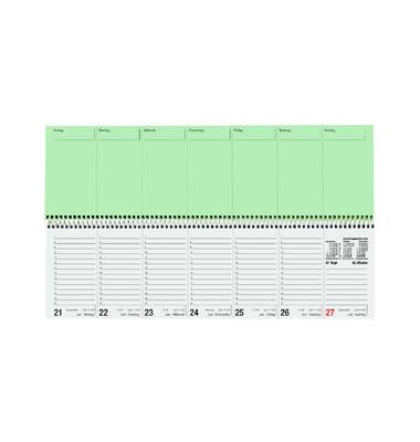 Schreibtischquerkalender 136 1Woche/2Seiten 2-farbig 36x10,5cm 2021 Recycling