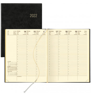 Buchkalender 728 1Woche/2Seite schwarz 21x26,5cm 2021