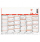 Plakatkalender 908 6Monate/1Seite folienkaschiert A4-quer 2020