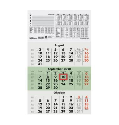 Dreimonatskalender 956 3Monate/1Seite 295x490mm 2020 Recycling