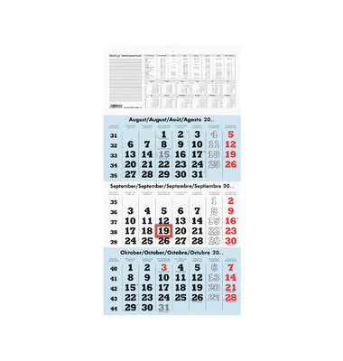 zettler dreimonatskalender 958 3monate 1seite 4 sprachig 295x580mm 2019. Black Bedroom Furniture Sets. Home Design Ideas