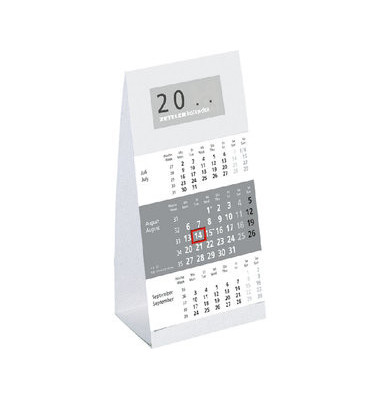Dreimonats-Tischkalender 980 3Monate/1Seite grau 9,5 x 19,5 cm 2021