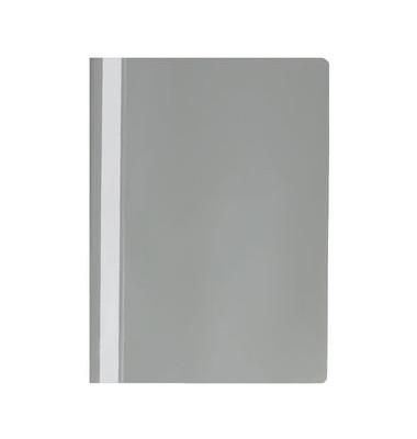 Schnellhefter A4 grau Kunststoff Schlauchheftung genarbt