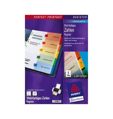 Kartonregister 01733501 1-5 A4 190g farbige Taben 5-teilig