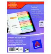 Kartonregister 01736501 1-12 A4 190g farbige Taben 12-teilig