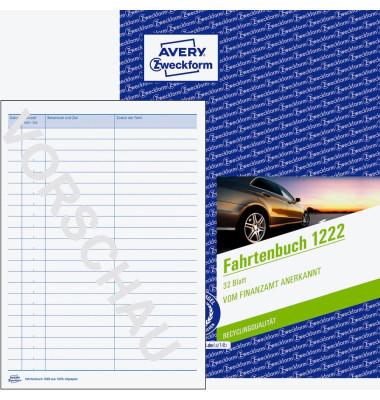 Fahrtenbuch 1222 A5 32 Blatt