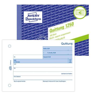 Quittung 1250 mit MwSt. A6 100 Blatt