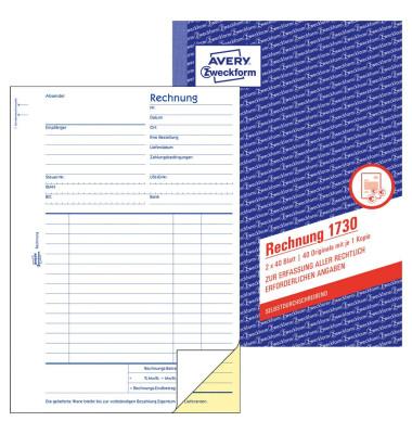 Rechnung 1730 A5 selbstdurchschreibend 2x40 Blatt