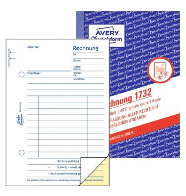 Rechnung selbstduchschreibend A6 2x40 Blatt