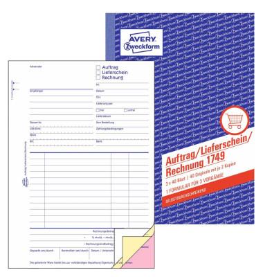 Formular Auftrag,Lieferschein, Rechnung A5 SD 3x 40 Bl