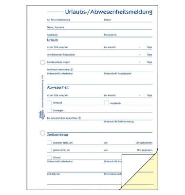 Urlaubs- und Abwesenheitsmeldung A5 2x40 Blatt selbstduchschreibend