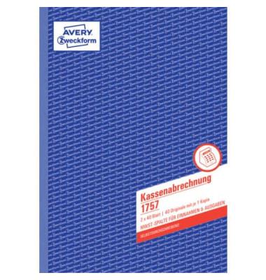 Kassenbuch 1757 A4 selbstdurchschreibend 2x40 Blatt