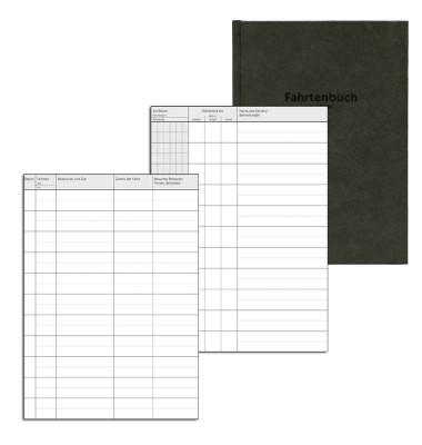 Fahrtenbuch Hardcover f.PKW schwarz A5 48 Bl Pap.weiß