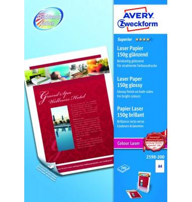 2598 Superior Colour A4 150g Laserpapier weiß satiniert 200 Blatt
