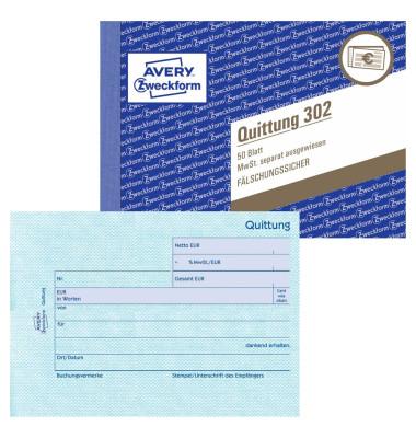 Quittung 302 mit MwSt. A6 50 Blatt