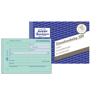 Formular Einnahmebeleg grün A6 50 Blatt