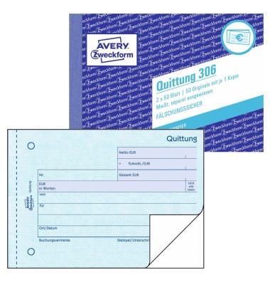 Quittung 306 mit MwSt. A6 2x50 Blatt