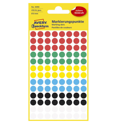 Markierungspunkte 3090 farbig sortiert Ø 8mm 416 Stück