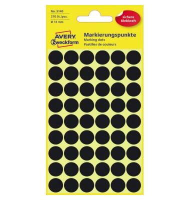 Markierungspunkte 3140 schwarz Ø 12mm 270 Stück