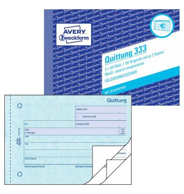 Quittung 333 mit MwSt. A6 3x50 Blatt