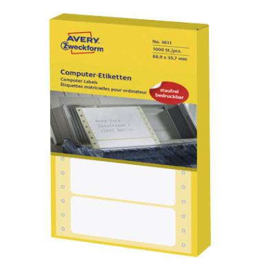 Computeretiketten 3611 88,9 x 35,7 mm weiß 1-bahnig 1000 Stück