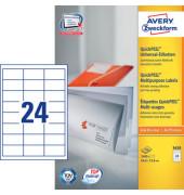 Etiketten 3658 64,6 x 33,8 mm weiß 2400 Stück QuickPeel
