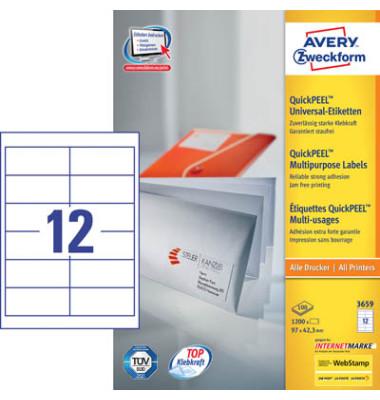 Etiketten 3659 97 x 42,3 mm weiß 1200 Stück QuickPeel