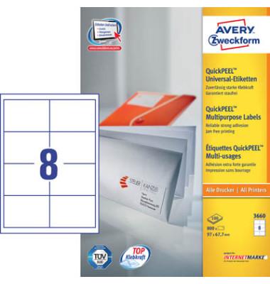 Etiketten 3660 97 x 67,7 mm weiß 800 Stück QuickPeel STAMPIT