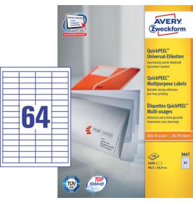 Etiketten 3667 48,5 x 16,9 mm weiß 6400 Stück QuickPeel