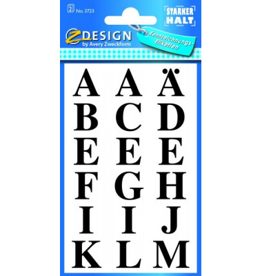 Buchstabenetiketten transp.sk schwarz 2 Bogen A-Z 72 St