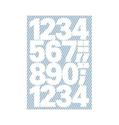 3787 Buchstabenetiketten 25mm x 100pt 1-9 weiß wetterfest 28 Stück