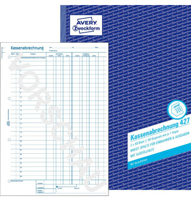 Kassenabrechnung 427 A4 2x50 Blatt