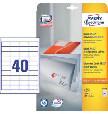 Etiketten 4780 48,5 x 25,4 mm weiß 1000 Stück QuickPeel