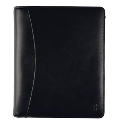 Ringbuch A5 Standard Compact Vollrindleder schwarz mit Reissverschluss ohne Kalender