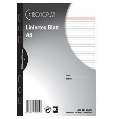 Ersatzeinlage Papier liniert 80g weiß A5 50 Blatt