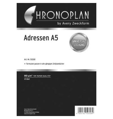 Ersatzeinlage Adressen-Blätter A5 25 Blatt