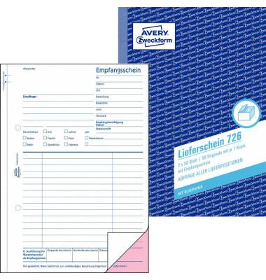 Lieferschein/Empfangsschein 726 A5 2x50 Blatt