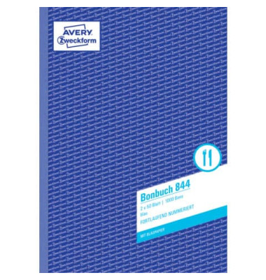 Bonbuch 1000 Bons fortlaufend blau A4 beidseitig bedruckt