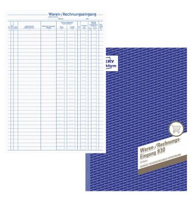 Waren- / Rechnungseingangsbuch 930 A4 50 Blatt / 100 Seiten