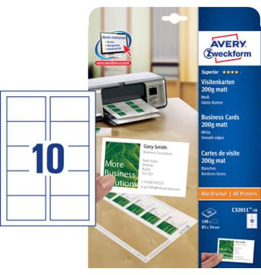 C32011-10 Visitenkarten weiß 85 x 54 mm 200g 100 Stück glatte Kanten