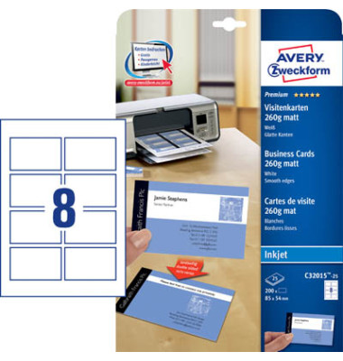 C32015-25 Visitenkarten weiß 85 x 54 mm 260 g 200 Stück