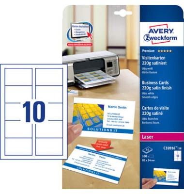 C32016-10 Visitenkarten weiß 85 x 54 mm 220g 100 Stück